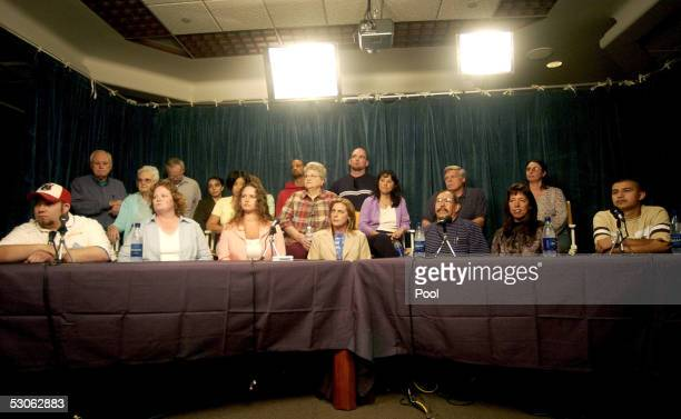 The unindentified jurors of the Michael Jackson child molestation trial speak to the media at the Santa Barbara County Courthouse June 13, 2005 in...