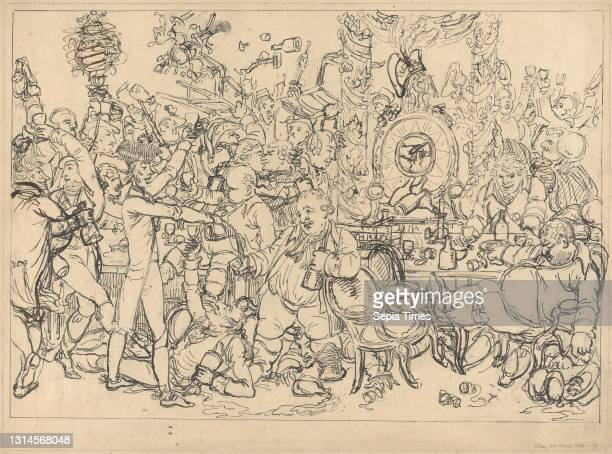 The Union Club, Charles Williams, active 1796–1830, British, Formerly attributed to James Gillray, 1757–1815, British, undated, Pen and black ink...