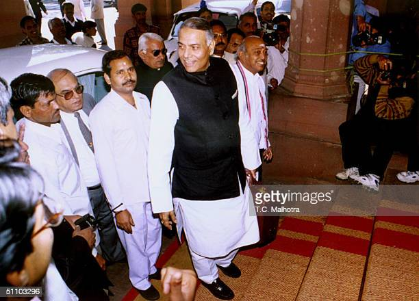 The Union Finance Minister Yashwant Sinha On His Way To Present The Union Budget To The Indian Parliament In New Delhi On February 271999