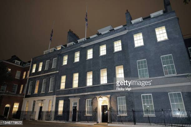 The union flag flies at half mast in Downing Street on October 15, 2021 in London, England. Sir David Amess Conservative MP for Southend West, has...