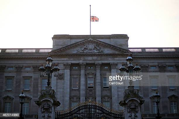 The Union Flag flies at half mast over Buckingham Palace following the death of King Abdullah of Saudi Arabia on January 23 2015 in London United...