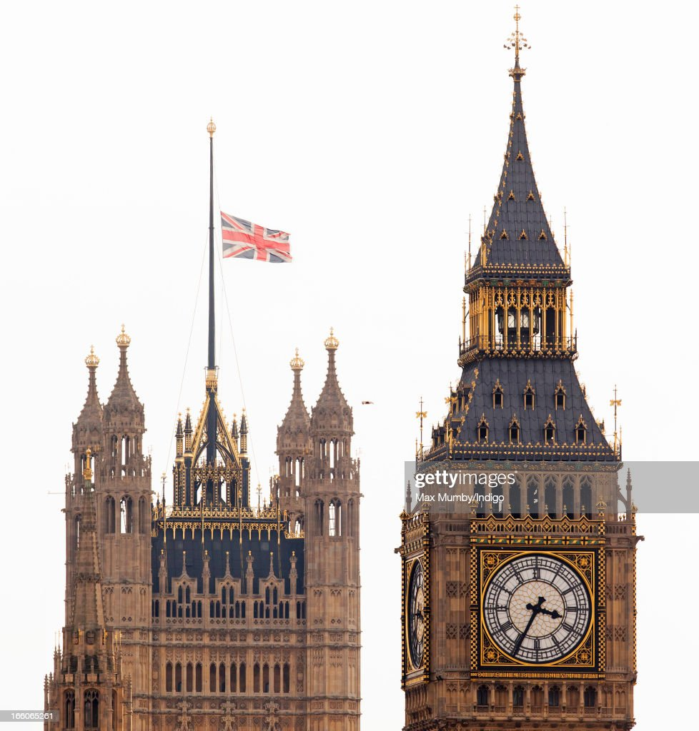 The Union Flag flies at half mast over the Houses of Parliament following the death of former British Prime Minster Baroness Margaret Thatcher on April 8, 2013 in London, England. It has been confirmed that Lady Thatcher has died this morning following a stroke aged 87. Margaret Thatcher was the first female British Prime Minster and governed the UK from 1979 to 1990. She led the UK through some turbulent years and contentious issues including the Falklands War, the miner's strike and the Poll Tax riots.