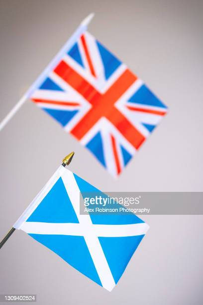 the union flag of great britain & the scottish flag - political party stock pictures, royalty-free photos & images