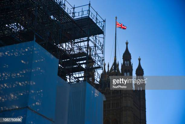 The Union Flag waves on the top of the Victoria Tower as the parliament is partially covered of scaffolding London on October 22 2018
