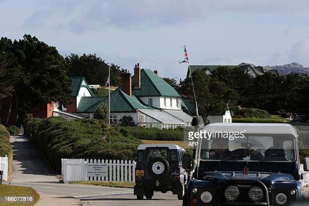 The Union Jack at half mast for the demise of former British PM Margaret Thatcher at the government house in Port Stanley Falkland Islands on April 8...