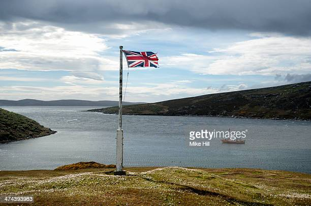 The Union Jack flag fluttering in the wind