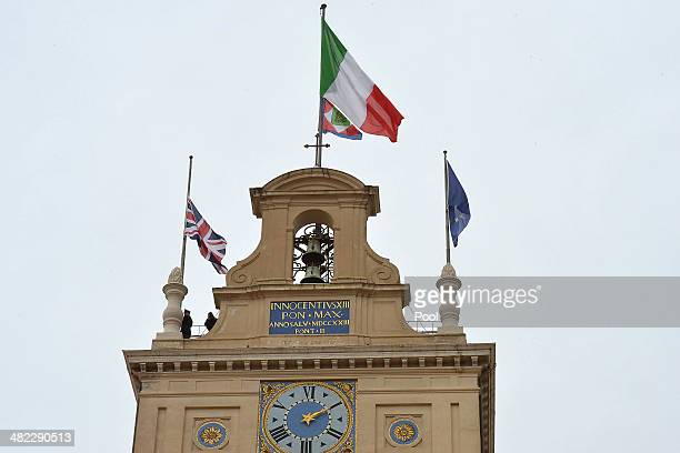 The Union Jack flag is raised during Her Majesty Queen Elizabeth II visit at 'Palazzo del Quirinale' during her oneday visit to Rome on April 3 2014...