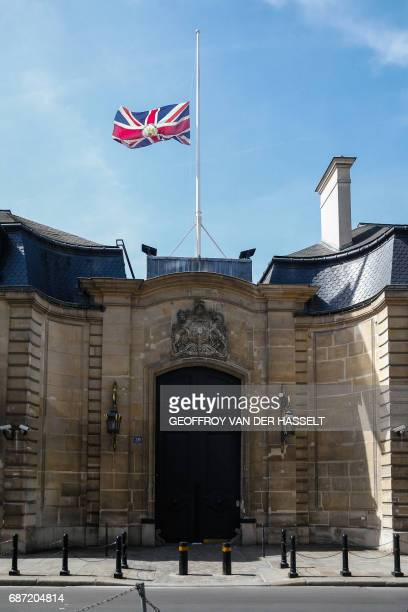 The Union Jack flies at halfmast above the British Embassy in Paris on May 23 as a mark of respect to those killed and injured in the terror attack...