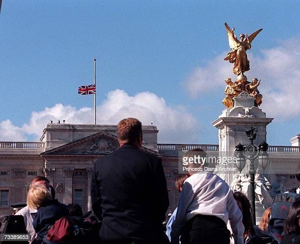 The Union Jack flying at half mast over Buckingham Palace to mark the funeral of the Princess of Wales 6th September 1997 It was the first time that...