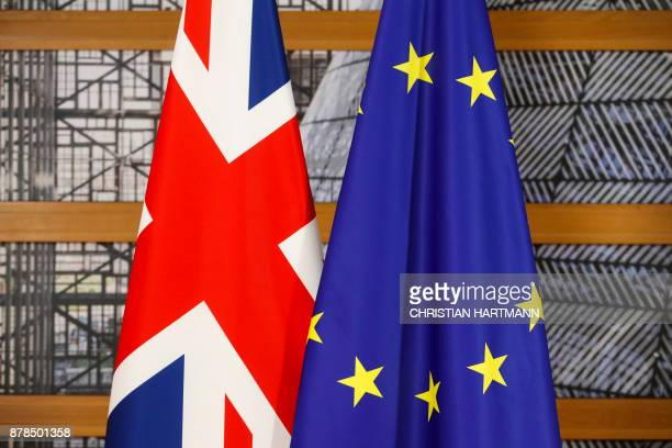 The Union Jack the national flag of the United Kingdom and the flag of the European Union are pictured within a bilateral meeting of Britain's Prime...