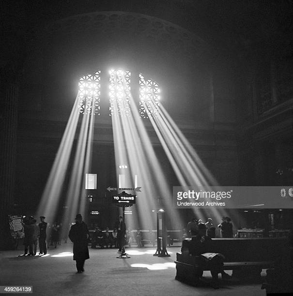 The Union Station waiting room with sunlight streaming in the clerestory windows Chicago Illinois January 1943