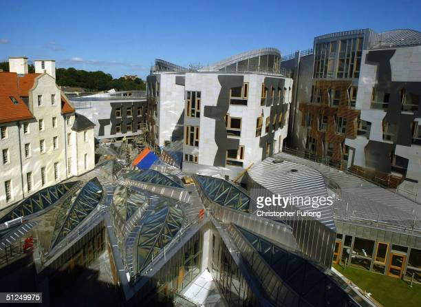 The unique exterior of the new Scottish Parliament building is pictured on August 31 2004 at Holyrood in Edinburgh Scotland The uniquely designed...