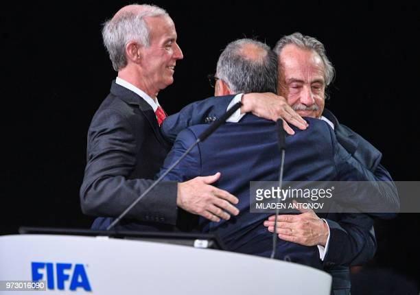 The United 2026 bid officials Carlos Cordeiro president of the United States Football Association president of the Mexican Football Association Decio...