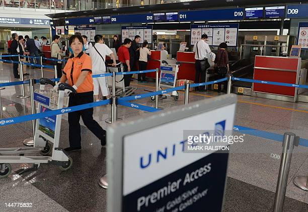 The United Airlines check in area at Beijing International Airport on May 19 2012 Blind Chinese activist Chen Guangcheng received a passport on May...
