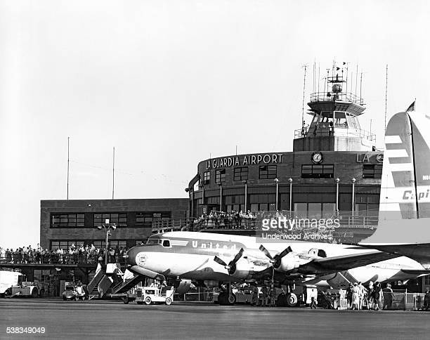 The United Airlines DC6 'Mainliner Ohio' passenger plane on the tarmac at LaGuardia Airport Queens New York New York August 23 1955