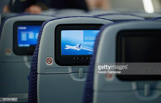The United Airlines Economy Class with personal entertainment systems, with 13 languages available, is seen on the new Boeing 787 Dreamliner at Los...