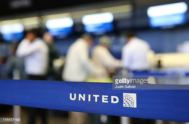 The United Airlines name is displayed on a barrier at San Francisco International Airport on July 25 2013 in San Francisco California United...