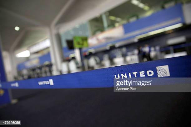 The United Airlines terminal is viewed at Newark Liberty Airport on July 8 2015 in Newark New Jersey A computer system glitch caused thousands of...