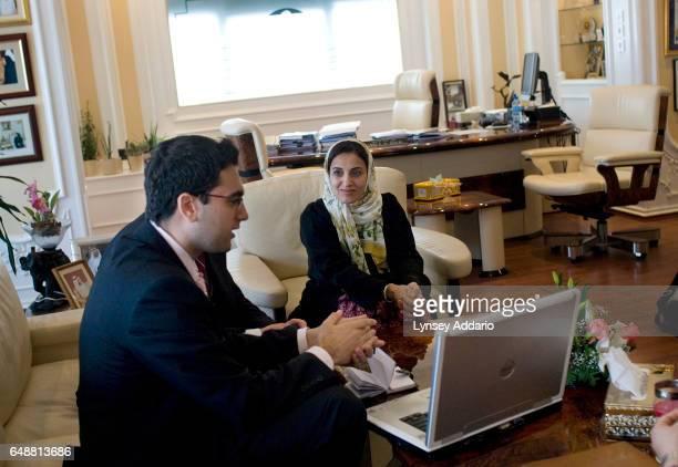 The United Arab Emirates' Minister of Economics Sheikha Lubna Khalid Al Qasimi holds a meeting in her office in Abu Dhabi United Arab Emirates on Nov...