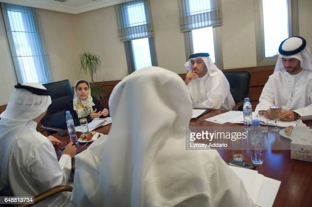 The United Arab Emirates' Minister of Economics Sheikha Lubna Khalid Al Qasimi conducts a weekly committee meeting to discuss new business permits in...
