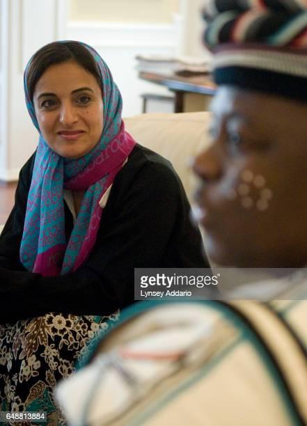 The United Arab Emirates' Minister of Economics Sheikha Lubna Khalid Al Qasimi attends a meeting inside her office in Abu Dhabi United Arab Emirates...