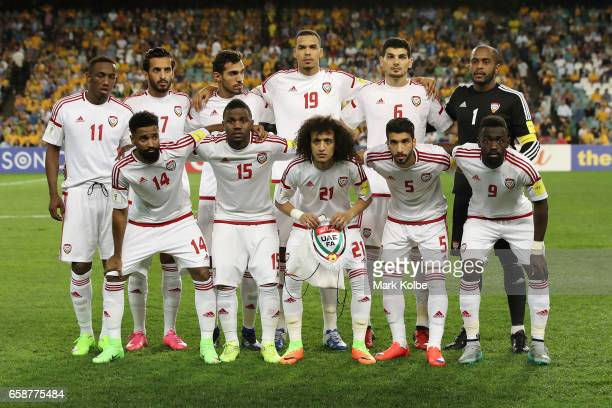 The United Arab Emirates team pose during the 2018 FIFA World Cup Qualifier match between the Australian Socceroos and United Arab Emirates at...