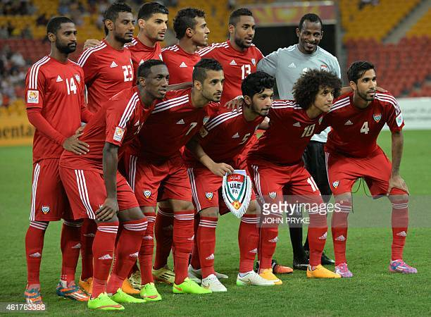 The United Arab Emirates team poses before their Group C football match against Iran at the AFC Asian Cup in Brisbane on January 19 2015 AFP PHOTO /...