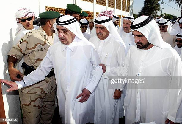 The United Arab Emirates Vice President Sheikh Maktum bin Rashed alMaktum arrives with his brother Sheikh Mohammed the Crown Prince of Dubai at Abu...
