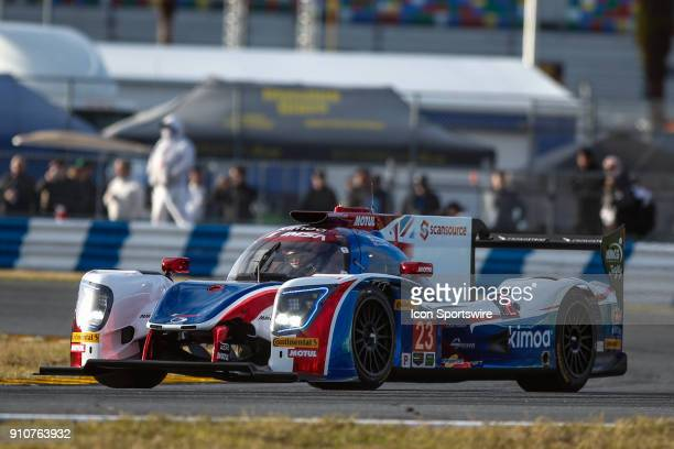 The United Autosports Ligier JS P217Gibson of Fernando Alonso Phil Hanson and Lando Norris races during Rolex 24 practice on January 26 2018 at...
