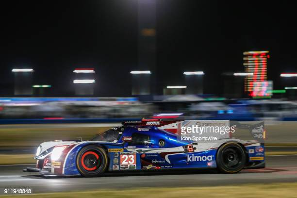 The United Autosports Ligier JS P217Gibson of Fernando Alonso Phil Hanson and Lando Norris races during the Rolex 24 at Daytona on January 27 2018 at...