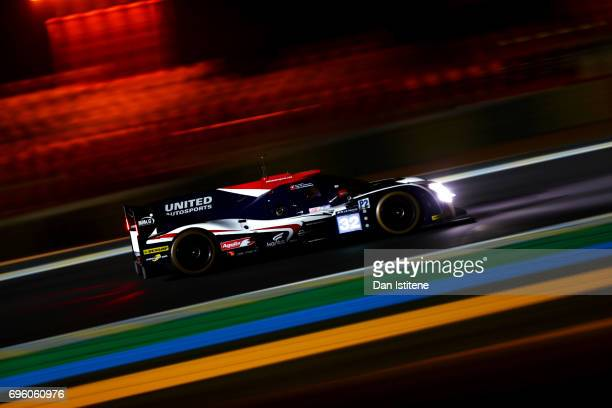 The United Autosports Ligier of William Owen Filipe Albuquerque and Hugo De Sadeleer drives during practice for the Le Mans 24 Hour Race at Circuit...