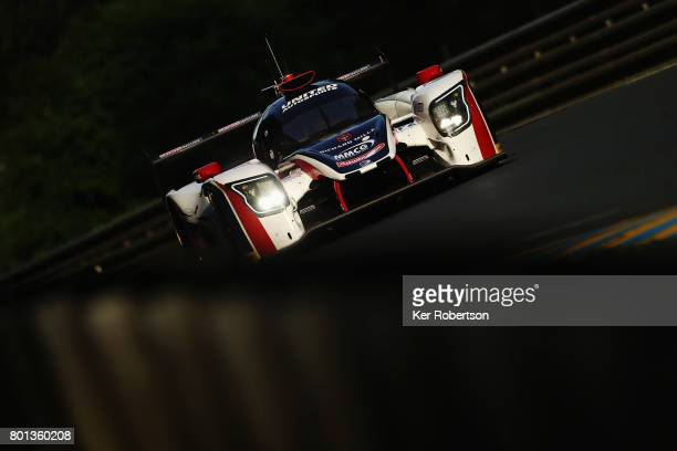 The United Autosports Ligier of William Owen Filipe Albuquerque and Hugo De Sadeleer drives during qualifying for the Le Mans 24 Hours race at the...