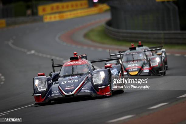 The United Autosports USA Oreca 07 - Gibson of Philip Hanson, Filipe Albuquerque, and Fabio Scherer in action on August 18, 2021 in Le Mans, France.