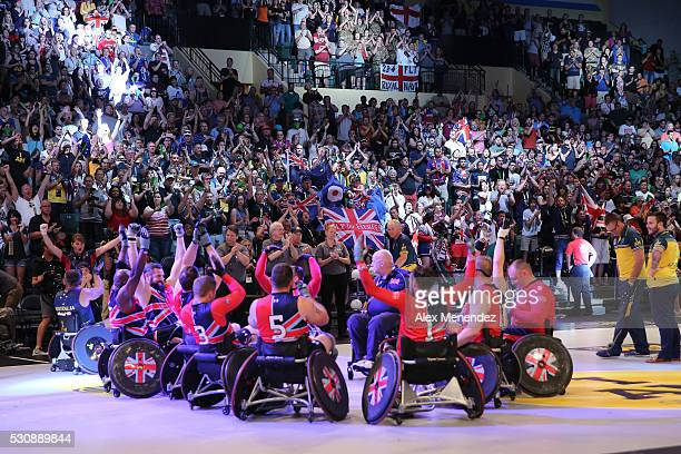 The United Kingdom celebrates the Bronze Medal during the Invictus Games Orlando 2016 Wheelchair Rugby Finals at the ESPN Wide World of Sports...