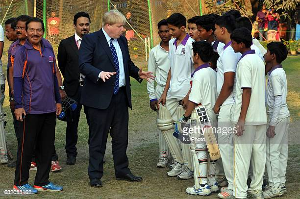 The United Kingdom Rt Hon Boris Johnson MP The Secretary of State For Foreign and Commonwealth Affairs UK play Cricket at the Visit to the Arun Lal...