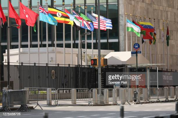 The United Nations building stands in Manhattan on the first official day of the 75th United Nations General Assembly on September 22, 2020 in New...