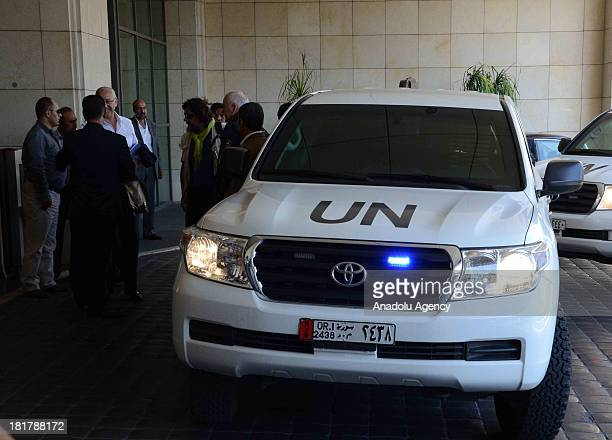 The United Nations chemical experts arrive at the hotel on September 25 2013 in DamascusSyria To complete its investigation over use of chemical...