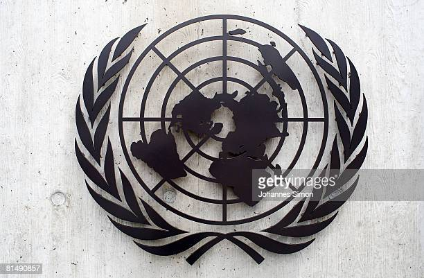 The United Nations emblem iss seen in front of the United Nations Office on June 8 2008 in Geneva Switzerland Housed at the Palais des Nations the...