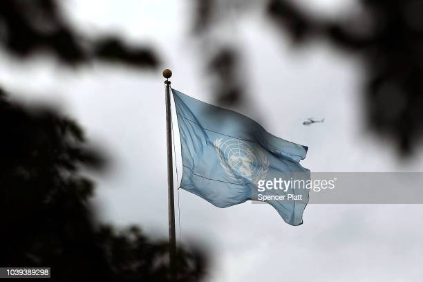 The United Nations flag flies ahead of the official opening of the 73rd United Nations General Assembly on September 24, 2018 in New York City. The...