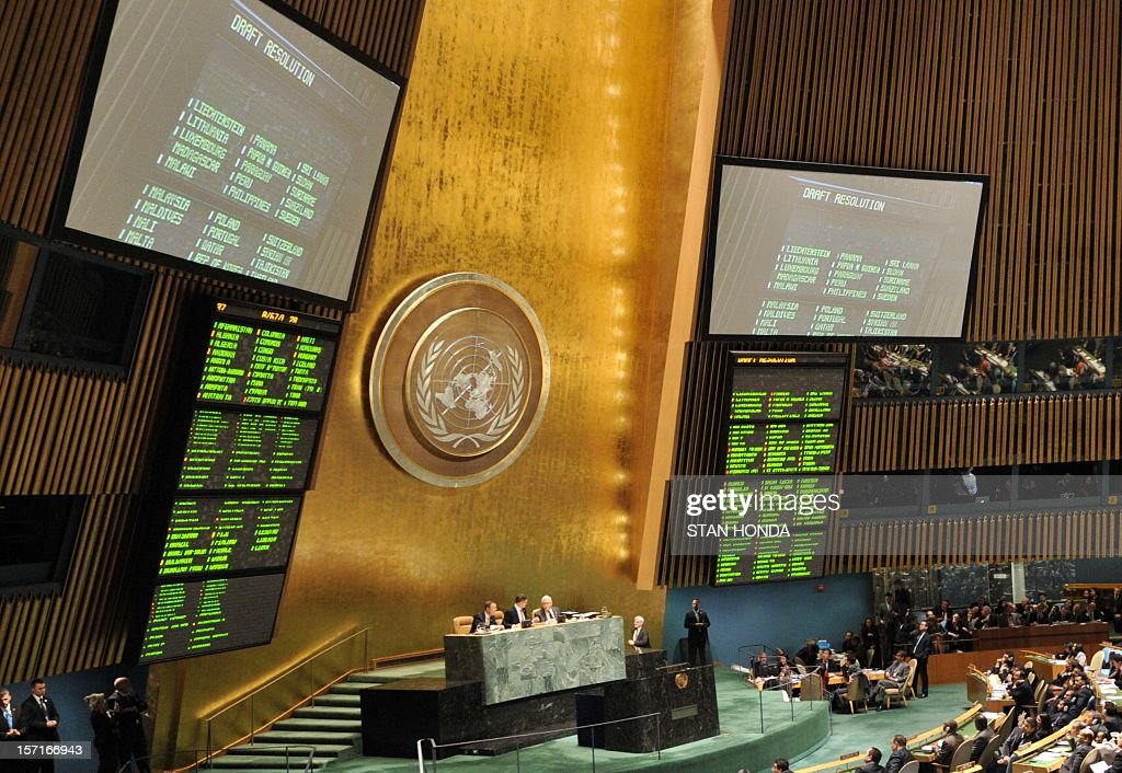 The United Nations General Assembly chamber during a vote on a resolution to upgrade the status of the Palestinian Authority to a nonmember observer state November 29, 2012 at UN headquarters in Ne...