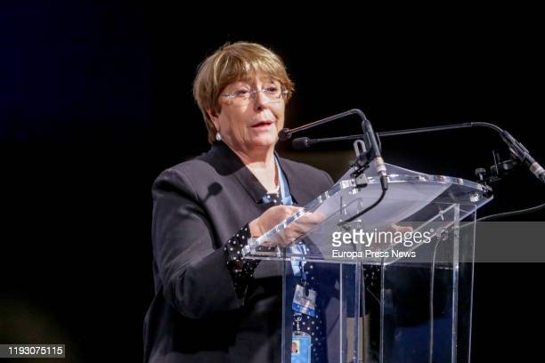 The United Nations High Commissioner for Human Rights, Michelle Bachelet, is seen during her speech in an event in which young climate activists call...
