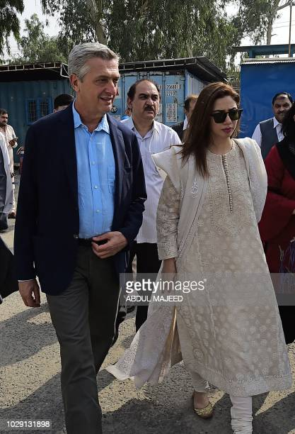 The United Nations High Commissioner for Refugees Filippo Grandi and Mahira Khan actress and UNHCR advocate for refugees and youth visit the Azakhel...