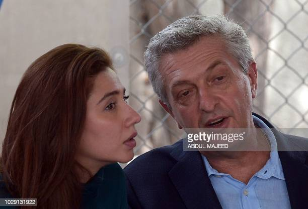 The United Nations High Commissioner for Refugees Filippo Grandi and actress and UNHCR advocate for refugees and youth Mahira Khan brief to media...
