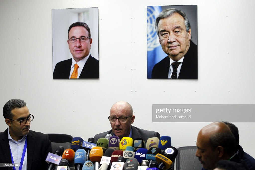 UN Humanitarian Coordinator Jamie McGoldrick Holds Press Conference In Yemen