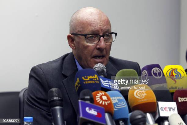 The United Nations Humanitarian Coordinator in Yemen Jamie McGoldrick speaks during a press conference on January 21 2018 in Sana'a Yemen The United...