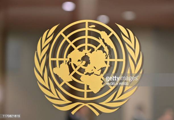The United Nations logo is seen at the United Nations Headquarters in New York on September 24 2019