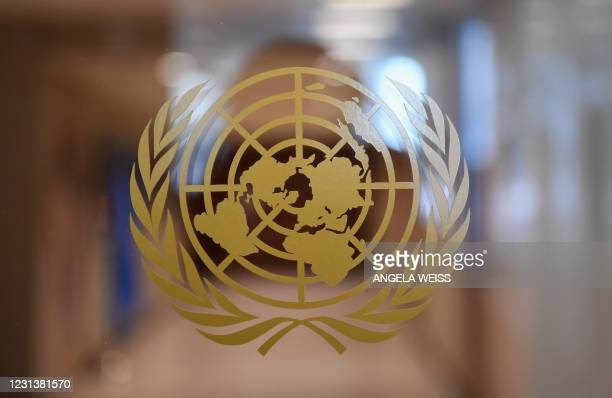The United Nations logo is seen inside the United Nations on February 25, 2021 in New York City.