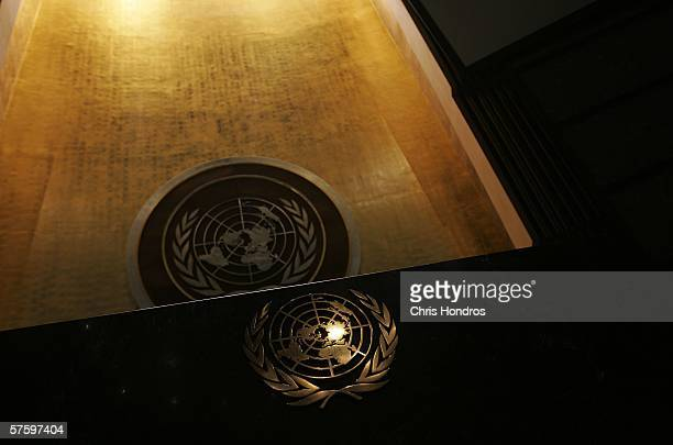 The United Nations logo is seen on the speaker's rostrum and back wall of the General Assembly Hall of the United Nations May 12 2006 at the United...