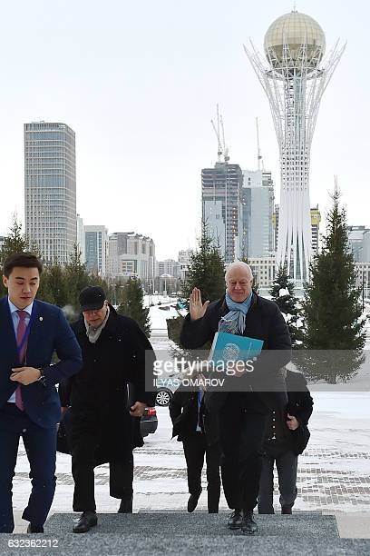 The United Nations' peace envoy for Syria Staffan de Mistura arrives for a meeting with Kazakh Foreign Minister in Astana on January 22 2017 on the...