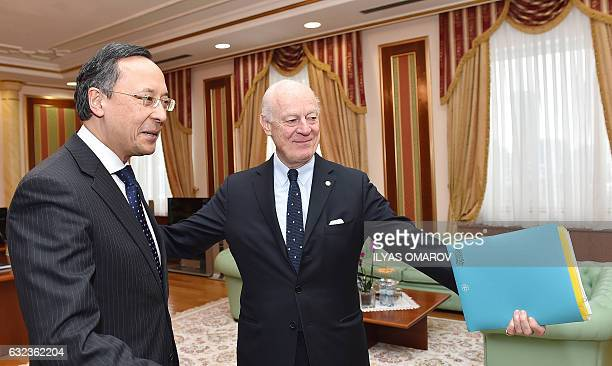 The United Nations' peace envoy for Syria Staffan de Mistura meets with Kazakh Foreign Minister Kairat Abdrakhmanov in Astana on January 22 2017 on...